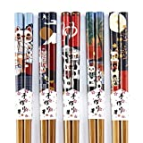 "Bamboo Japanese Chopsticks Set Reusable Lucky Cat Pattern 8.9""(L) by Homestia Pack of 5"