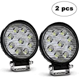TURBOSII 2Pcs 4 Inch Round Pods Spot Off Road Work Light Headlight Led Driving Fog Lights Backup Reverse Lamp For Tractors Side By Side Tundra Tacoma John Deere Chevrolet UTV Jeep Ford Boat 12V-24V