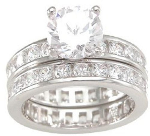 Solitaire White CZ Wedding Band Engagement Ring Set in 925 Sterling Silver Size 7