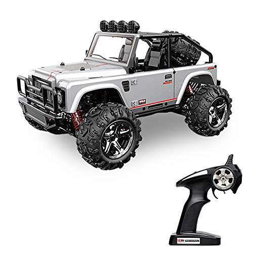 Vatos Remote Control Cars RC Cars Off Road High Speed 4WD 45km/h 1:22 Scale 50M Remote Control 2.4GHz Electric Vehicle Buggy RC Trucks with LED Night Vision VL-BG1511B-W (Silver) - Gas Power Rc Truck