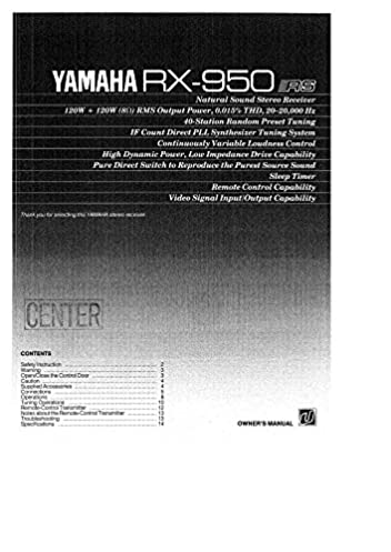 yamaha rx 950 receiver owners manual plastic comb jan 01 1900 rh amazon com yamaha receiver owner's manual free download yamaha receiver service manual