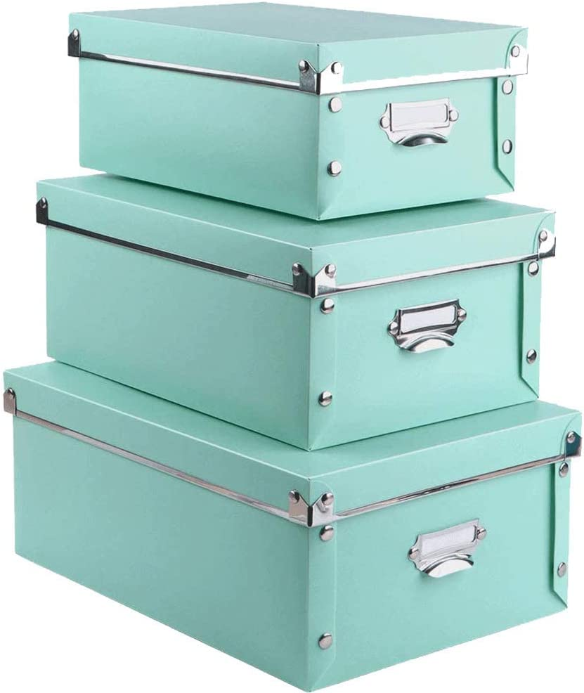 3 Pack/SetPlastic Storage Box with Lid,Waterproof Storage Binsfor Toys/shoes/clothes/Office Teal color