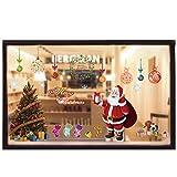Christmas Window Clings Decal Stickers Decorations - Merry Xmas Tree Snowflake Balls Santa Claus