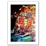 Art Wall 'Magic Cinque Terre Night Riomaggiore' Unwrapped Canvas Artwork by Markus Bleichner, 52 by 36-Inch