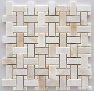 Premium White Onyx CROSS-CUT Basketweave Polished Mosaic Tile with White Onyx Dots