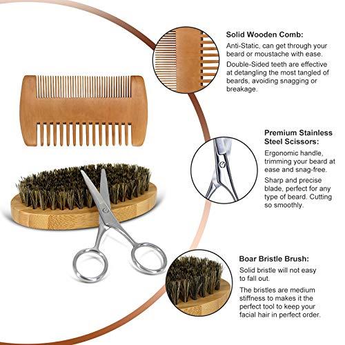 Beard Kit, Beard Growth Kit for Men Gifts, Organic Beard Oil, Beard Balm, Beard Comb, Beard Brush, Beard Grooming Kit…