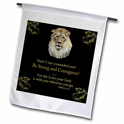 3dRose fl_42588_1 Joshua 1 Verse 9 be Strong and Courageous Illustrated with a Lion in Gold on a Black Background Garden Flag, 12 by 18-Inch (Courageous Art)