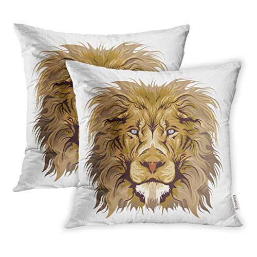 Emvency Set of 2 Throw Pillow Cover Cushion Case Decorative 20 x20 Inch Head Lion Detailed Africa African Animal Beast Black Bold Cartoon Pillowcase Two Sides Print Covers ()