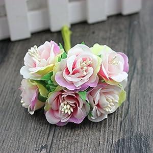 6 Pcs/LotMini Silk Daisy Artificial Rose Flowers Bouquet DIY Wedding Decoration Paper Flower For Scrapbooking Flower 4