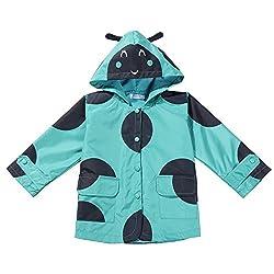 Arshiner Toddler Kids Printed Lightweight Single Jacket Waterproof Outwear Raincoat Hoodies, 130(Age for 5-6Y), Pink