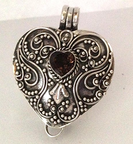 Smoky Quartz Birthstone stones heart locket sterling silver wish box pl9 Green Smoky Quartz Pendant