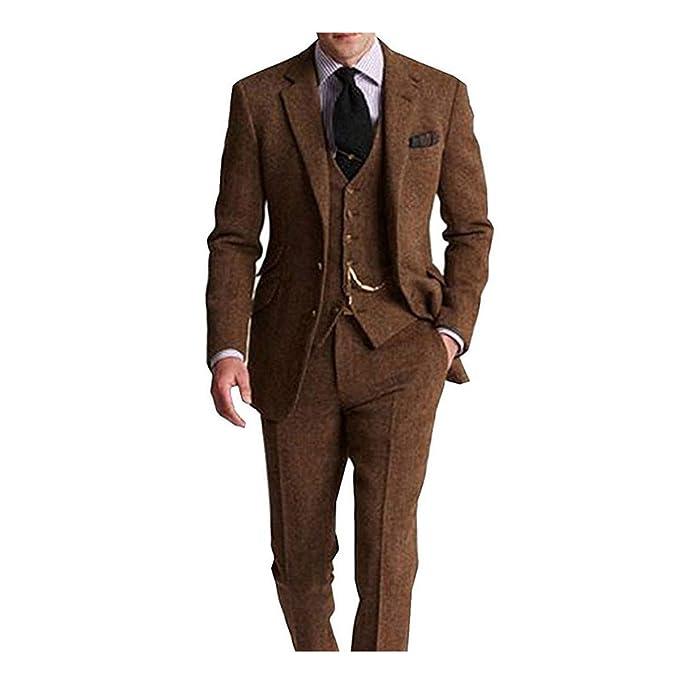 Amazon.com: Traje de 3 piezas para hombre retro marrón gris ...