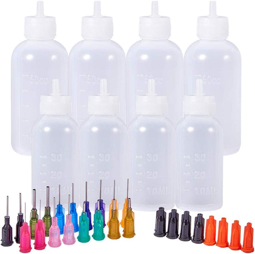 BENECREAT Multi proposito DIY Precision Tip aplicador Botellas Set - 8 Botellas de 1 Onza / 1.7 onzas, 18 Consejos, 8 Tapas - DIY Quilling, aplicador de Pegamento, Botella de Aceite