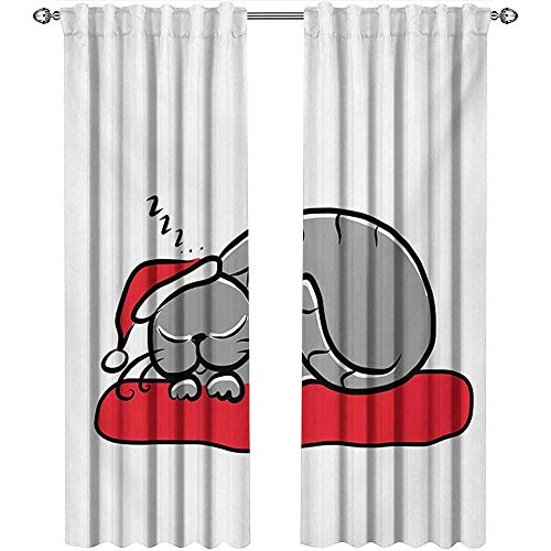 (Christmas, Curtains Blackout 2 Panels, Cat with Santa Claus Hat Whiskers on The Pillow Winter Night Cartoon Artwork, Curtains Kitchen Valance, W72 x L96 Inch, White Red Grey)