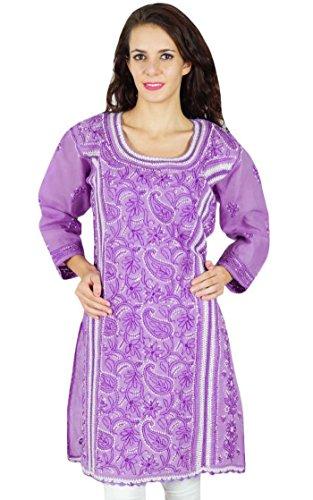 Diseñador indio Chikan Kurta mujeres se visten túnica étnico Kurti ocasional Georgette Púrpura