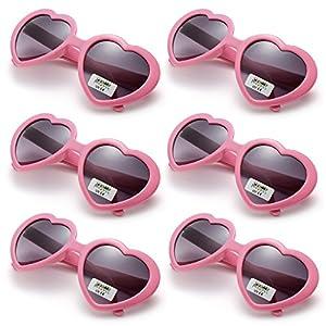Oaonnea 6 Pack Neon Colors Party Favor Supplies Heart Shape Sunglasses (Pink)