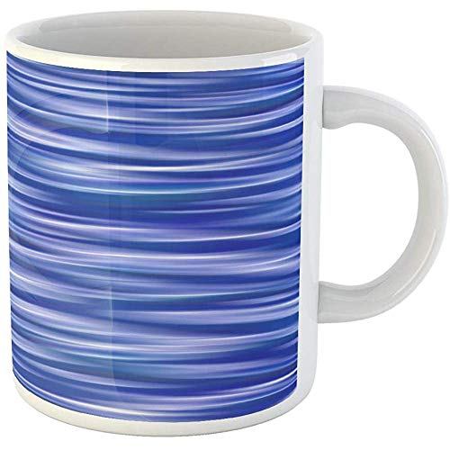 Funny Gift Coffee Mug Action Elegant Abstract Blue with Lines Azure Color Curve Digital Energy Gradient 11 Oz Ceramic Coffee Mug Tea Cup ()