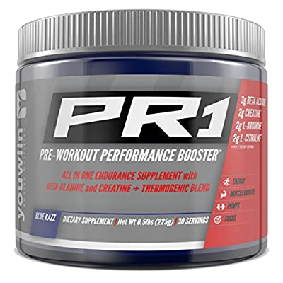 PR1 Pre Workout with Creatine, Beta Alanine, Amino Acids, Thermogenic | Performance Booster | Complete Nutritional Bodybuilding Supplement | 30 Servings (Blue Razz) | Youwiin Sports Nutrition