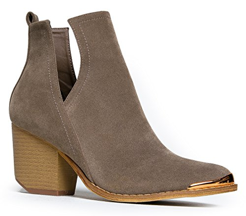 MI IM Western Slip On V-Cut Out Stacked Heel Bootie Ð Side Cut Metal Tipped Ankle Pull Cowboy WomenÕs Boot Olive YLoSbieC7I
