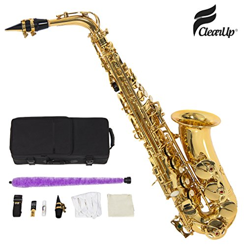 FClearup New Professional Eb Alto Sax Saxophone Paint Gold with Case and Accessories WP 1 SET - Tanner Living Room