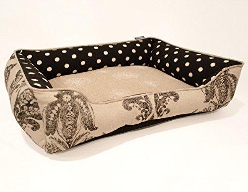 Medium Black Beige Dog Bed - Washable Reversible by J'adore Custom Pet Beds