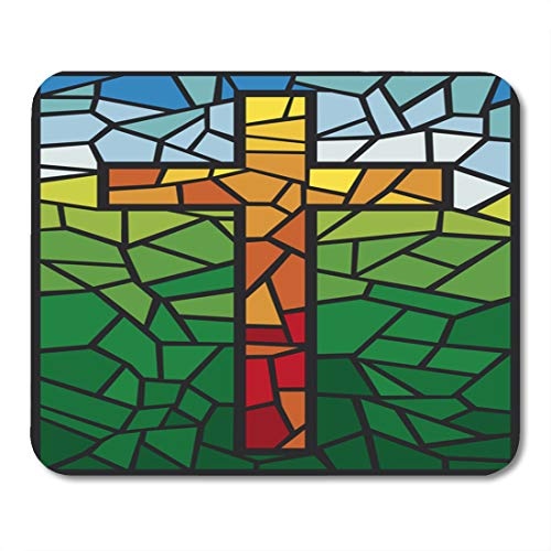 Boszina Mouse Pads Christian Blue Religious Cross in Stained Glass Style Green Easter Window Mouse Pad 9.5