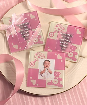 (Baby Girl Glass Photo Coasters by Fashioncraft-Excello)