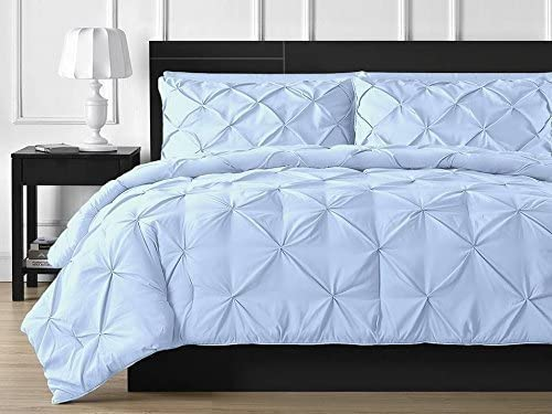 Amazon Com Taj Linens Ultra Soft 3 Piece Pinch Pleated Duvet Cover Set With Beautiful Pinch Diamond Design Egyptian Cotton Comforter Cover 800tc Solid King Cal King Sky Blue Home Kitchen
