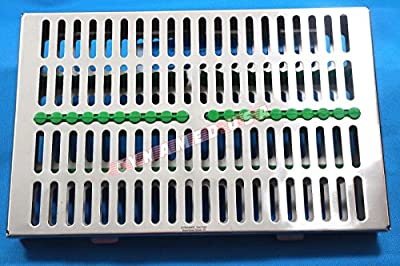 German Stainless Dental Autoclave Sterilization Cassette Box Tray For 20 Instrument-green