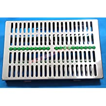 German Stainless Dental Autoclave Sterilization Cassette Box Tray for 20 Instruments Green