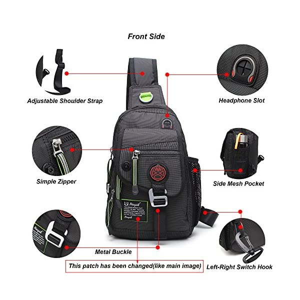 Nicgid-Sling-Bag-Backpack-Crossbody-Bags-for-Ipad-Tablet-Outdoor-HikingBlack