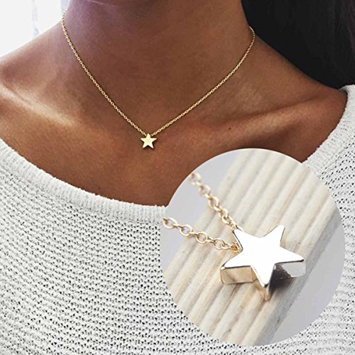 (Yfe Simple Star Choker Necklace Gold Star Pendent Necklaces for Women and Girls Tiny Charm Necklace Jewelry (Star-Gold) )