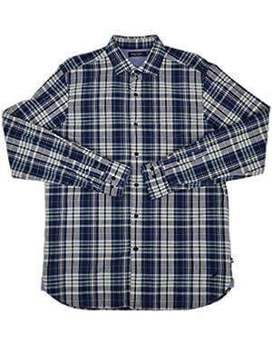 Men's Slim Fit Plaid Twill Cotton Button Down Shirt Hoist Navy Medium