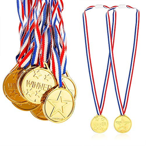 Caydo 24 Pieces Children's Gold Plastic Winner Award Medals, 1.38 Inch (Medals Gold)