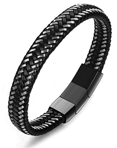 LOYALLOOK Braided Leather Bracelet for Men Bangle Wrap Stainless Steel Magnetic-Clasp Black Tone 9 Inches
