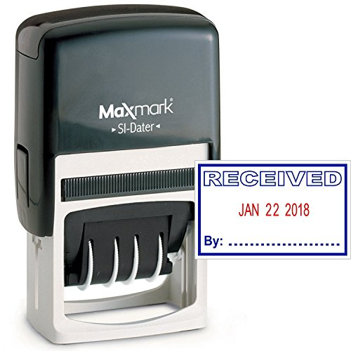 MaxMark Office Date Stamp with Received Self Inking Date Stamp - Blue/RED Ink
