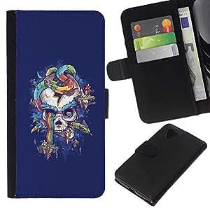 KLONGSHOP // Tirón de la caja Cartera de cuero con ranuras para tarjetas - Cráneo púrpura de la serpiente del arco iris Colores - LG Nexus 5 D820 D821 //