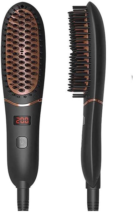 Cepillo alisador - Cepillo especial para cabello muy rizado, Cepillo alisador de cerámica con generador de iones y temperatura regulable hasta 200º, púas de gran sujeción desde la raíz: Amazon.es: Belleza