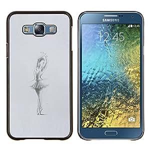 Bailarín de la bailarina Gris Carbón Sketch- Metal de aluminio y de plástico duro Caja del teléfono - Negro - Samsung Galaxy E7 / SM-E700