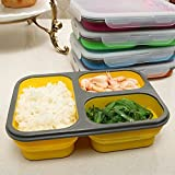 Astra shop 3-compartment Food Container with Lid, Bento Lunch Box, Leak Proof, Microwave Safe, Silicone Collapsible Lunch Box, Tray with Lid and Spoon, Dishwasher Safe-green