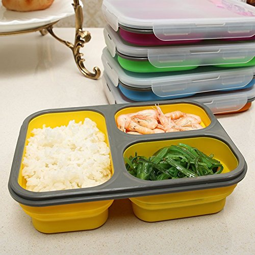 Astra shop 3-compartment Food Container with Lid, Bento Lunch Box, Leak Proof, Microwave Safe, Silicone Collapsible Lunch Box, Tray with Lid and Spoon, Dishwasher Safe-green ()