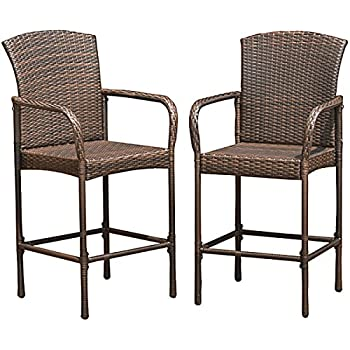 Gentil Costway Rattan Wicker Bar Stool Outdoor Backyard Chair Patio Furniture With  Armrest Set Of 2