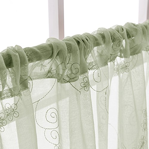Green Sheer Tiers Kitchen Floral Embroidered Semi Kitchen Tier Curtains Valance Set 36 inch Embroidery for Bathroom Rod Pocket,Sage