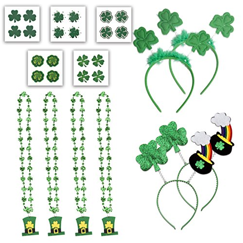 St. Patrick's Day Accessories Set Party Favor-St Patrick Shamrock Headband,Pot of Gold Head Bopper,Bead Necklace with Leprechaun Hat,Temporary Tattoos,28 Pcs for Costume Supplies Accessory Decoration