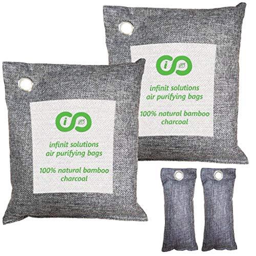 (Infinit USA Bamboo Charcoal Air Purifying Bag (4 Pack), Car Freshener & Home Odor Eliminators, Activated Charcoal Deodorizer, Odor Absorber, Air Freshener 2 x 500g + Bonus 2 x 100g Shoe Deodorizers)