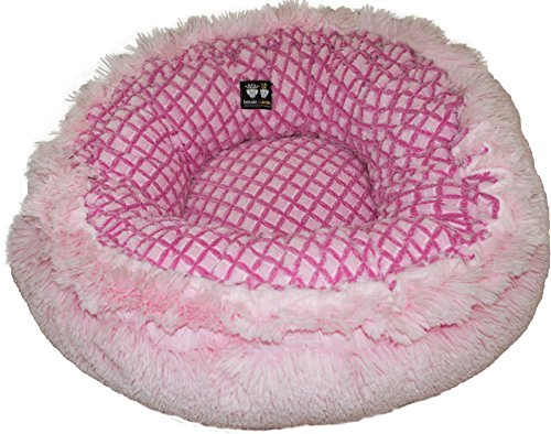 BESSIE AND BARNIE Pink It Fence/Bubble Gum Luxury Shag Ultra Plush Faux Fur Bagelette Pet/Dog Bed (Multiple Sizes)