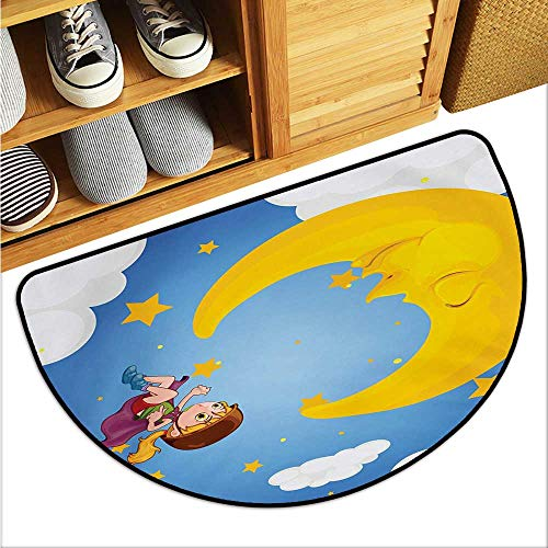 warmfamily Explore Interior Door mat Cartoon Girl with Cap and Helmet Near The Sleeping Crescent Moon Superhero Theme Anti-Fading W23 x L15 ()