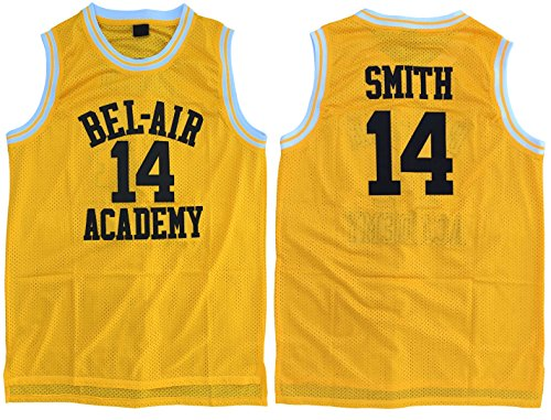 Smith  14 Bel Air Academy Throwback Basketball Jersey Embroidery Yellow S Xl  Small