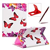 Wallet Leather Case for iPad 2/3/4,Herzzer Stylish Pretty [Red Butterfly Pattern] PU Leather Purse Folio Full Body Stand Card Slot Cover with Soft TPU