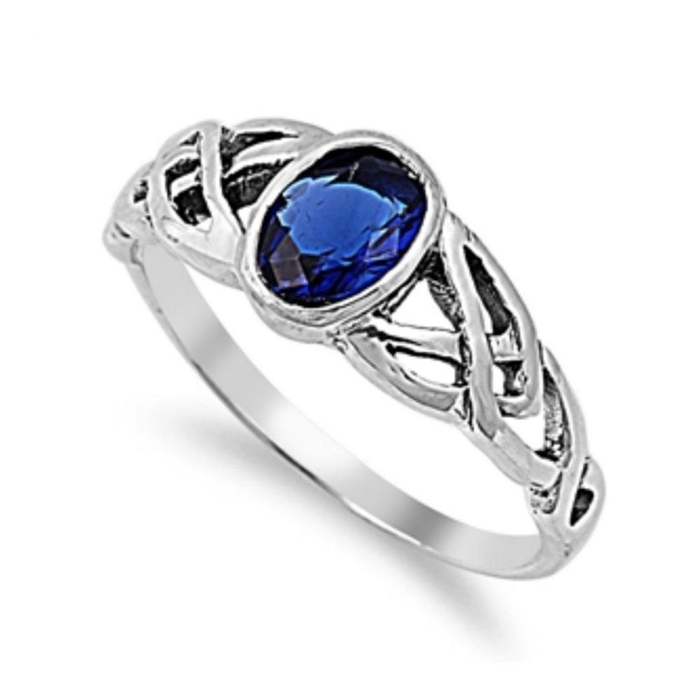 925 Sterling Silver Celtic Design Cubic Zirconia Ring Glitzs 5799